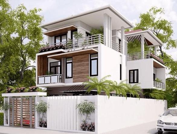Mẫu biệt thự mái bằng hiện đại, thích hợp xây dựng trong các khu dân cư