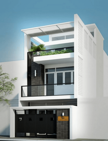 Mẫu nhà 2 tầng 1 tum có không gian xanh ở trên tạo sự mát mẻ cho căn nhà - 12