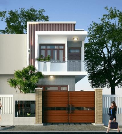 Mẫu nhà 2 tầng dùng vân gỗ để trang trí tạo sự khác biệt hơn cho ngôi nhà