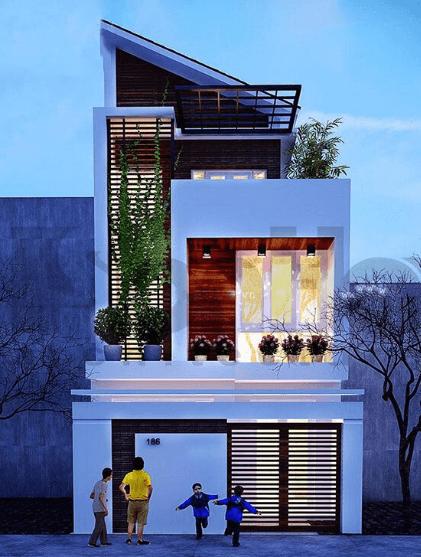 Mẫu nhà 2 tầng - 1 tum mái lệch hiện đại