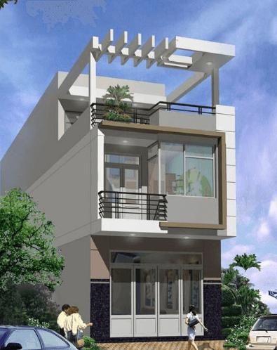 Nhà 2 tầng - 1 tum màu xám hiện đại