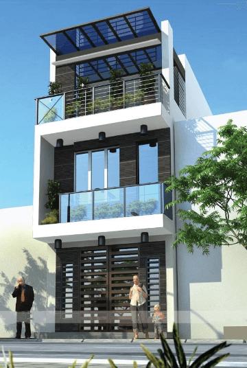 Mẫu nhà 2 tầng - 1 tum trồng cây xanh