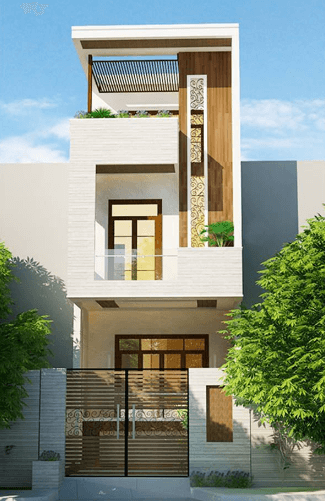 Mẫu nhà 2 tầng - 1 tum thiết kế vân gỗ đẹp
