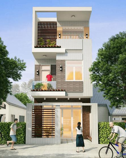 Mẫu nhà 2 tầng - 1 tum hiện đại