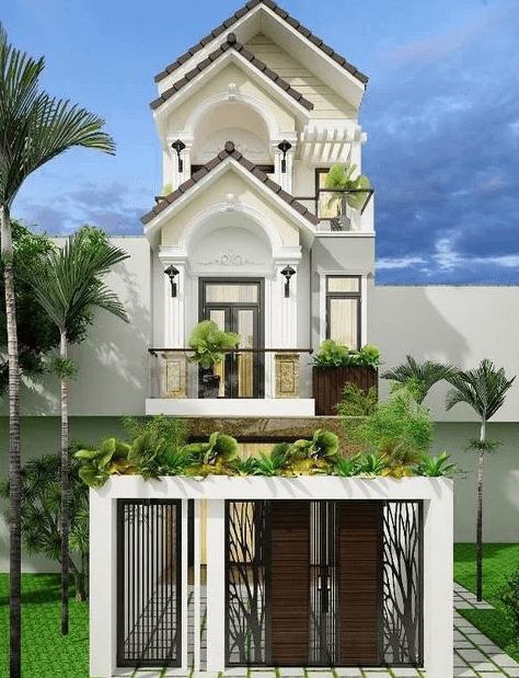 Mẫu nhà 2 tầng - 1 tum mái ngói thái sang trọng, cổ điển