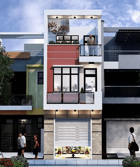 Mẫu nhà 2 tầng - 1 tum để trồng cây xanh, tạo không gian thoáng mát cho căn nhà
