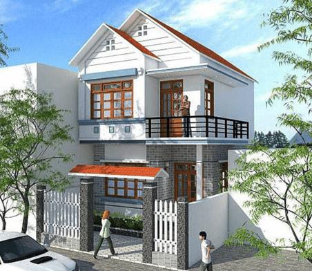 Mẫu nhà 2 tầng đẹp cho diện tích đất hình vuông