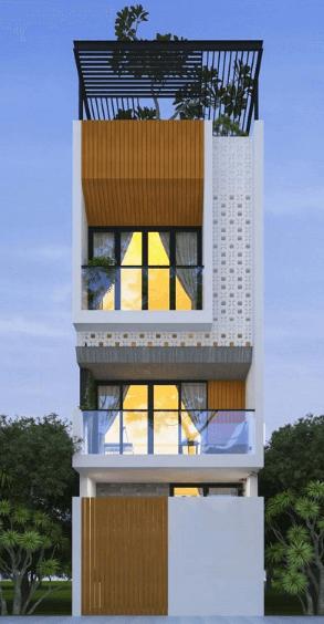 Mẫu nhà 3 tầng có 1 tum trồng cây xanh mát