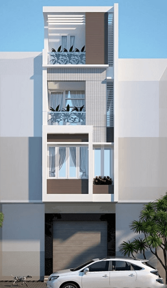 Mẫu thiết kế nhà 3 tầng - 1 tum hiện đại, đơn giản