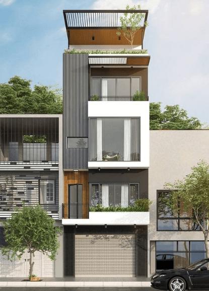 Mẫu nhà 3 tầng - 1 tum đẹp trồng cây phía trên hiện đại, tạo không gian xanh cho cả gia đình