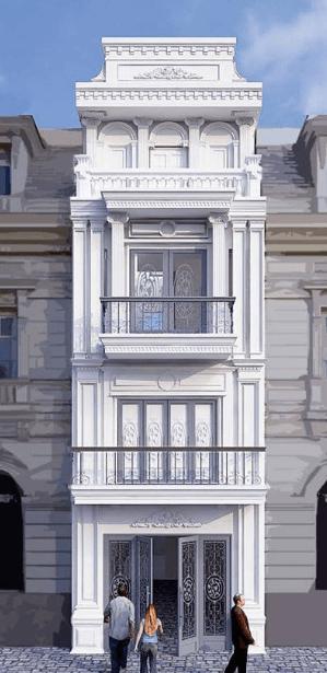 Mẫu nhà 3 tầng thiết kế phong cách cổ điển của Pháp