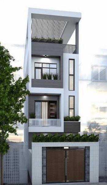Mẫu nhà 3 tầng - 1 tum trồng cây xanh ở phía trên tạo không gian thoáng mát cho căn nhà