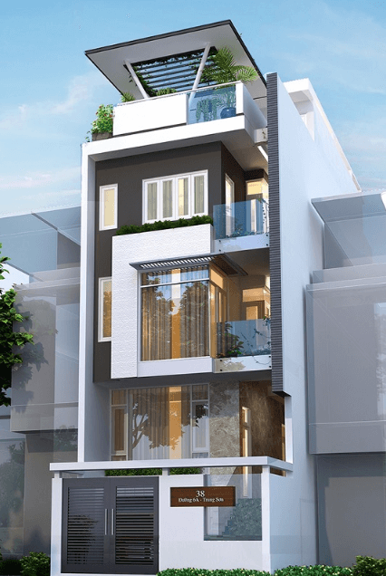 Mẫu nhà thiết kế 3 tầng - 1 tum trồng cây xanh hiện đại