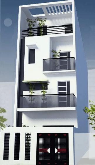Mẫu nhà 3 tầng - 1 tum sơn màu trắng đơn giản, đẹp