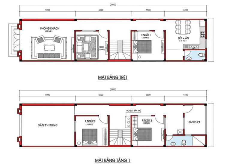 Bản vẽ nhà 2 tầng 4 x 20m
