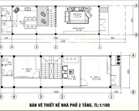 Bản vẽ nhà phố 2 tầng 4x13.5m