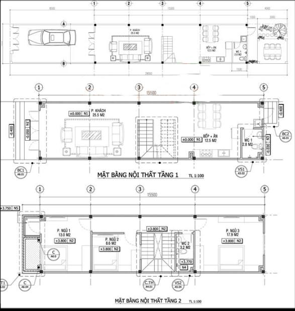 Nhà 2 Tầng 4 x 15.5m