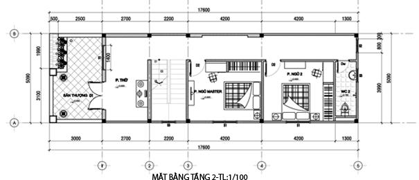 Bản vẽ nhà 2 Tầng 5 x 16.4m