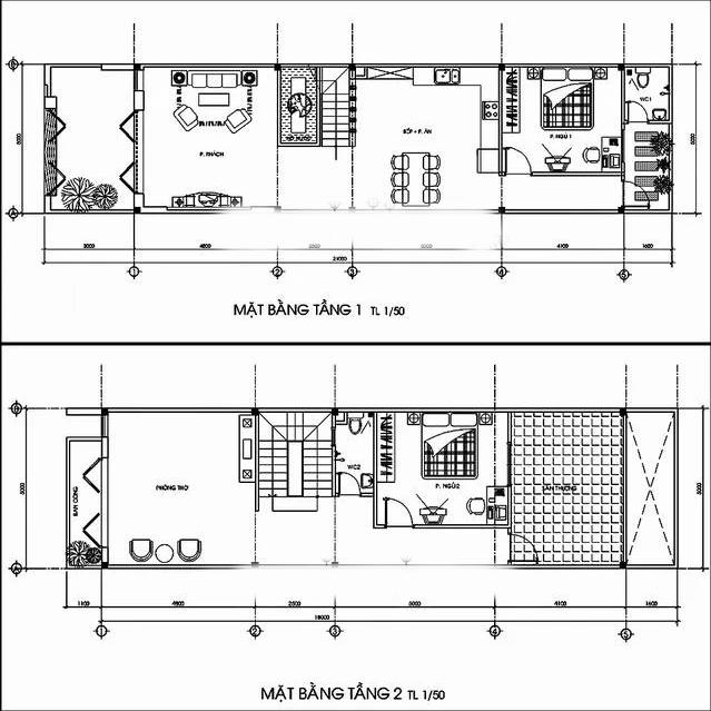 Bản vẽ nhà 2 Tầng 5 x 14m
