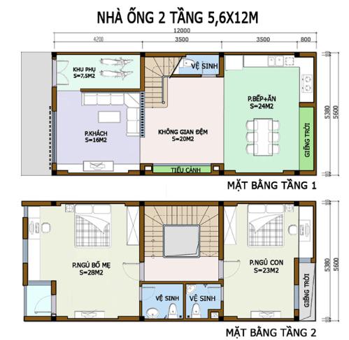 Bản vẽ nhà 2 tầng 5,6m X 12m