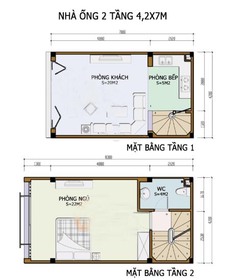 Bản vẽ nhà 2 tầng 4.2m x 7m