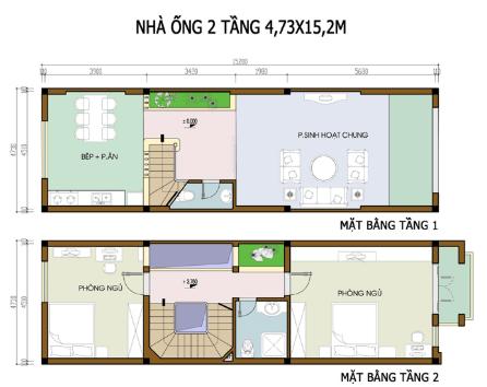Bản vẽ nhà 2 tầng 4.73m x 15.2m