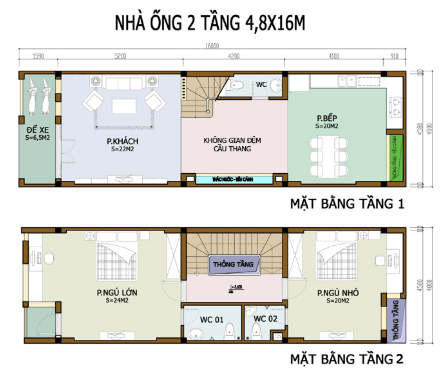 Bản vẽ nhà 2 tầng 4.8m x 16m