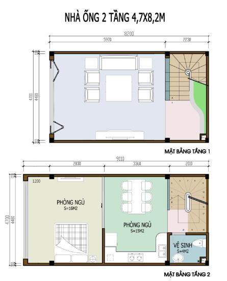 Bản vẽ nhà 2 tầng 4.7m x 8.2m
