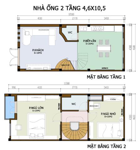 Bản vẽ nhà 2 tầng 4.6m x 10.5m