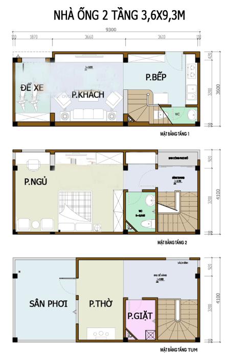 Bản vẽ nhà 2 tầng 3.6m x 9.3m