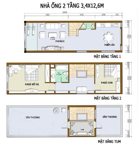 Bản vẽ nhà 2 tầng 3.4m x 12.6m