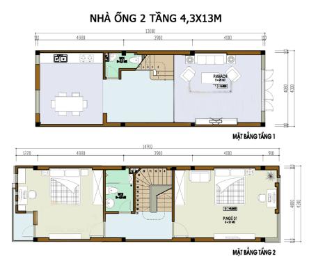 Bản vẽ nhà 2 Tầng 4.3m x 13m