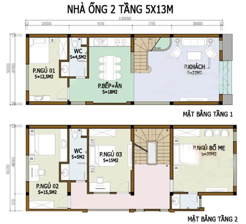 Bản vẽ nhà 2 Tầng 5m x 13m
