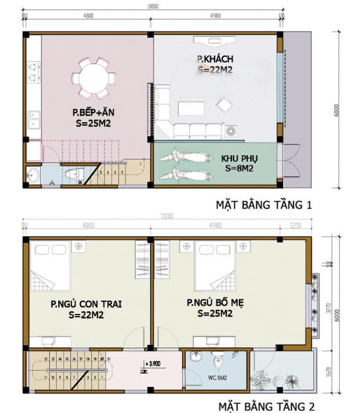 Bản vẽ nhà 2 Tầng 6m x 10m